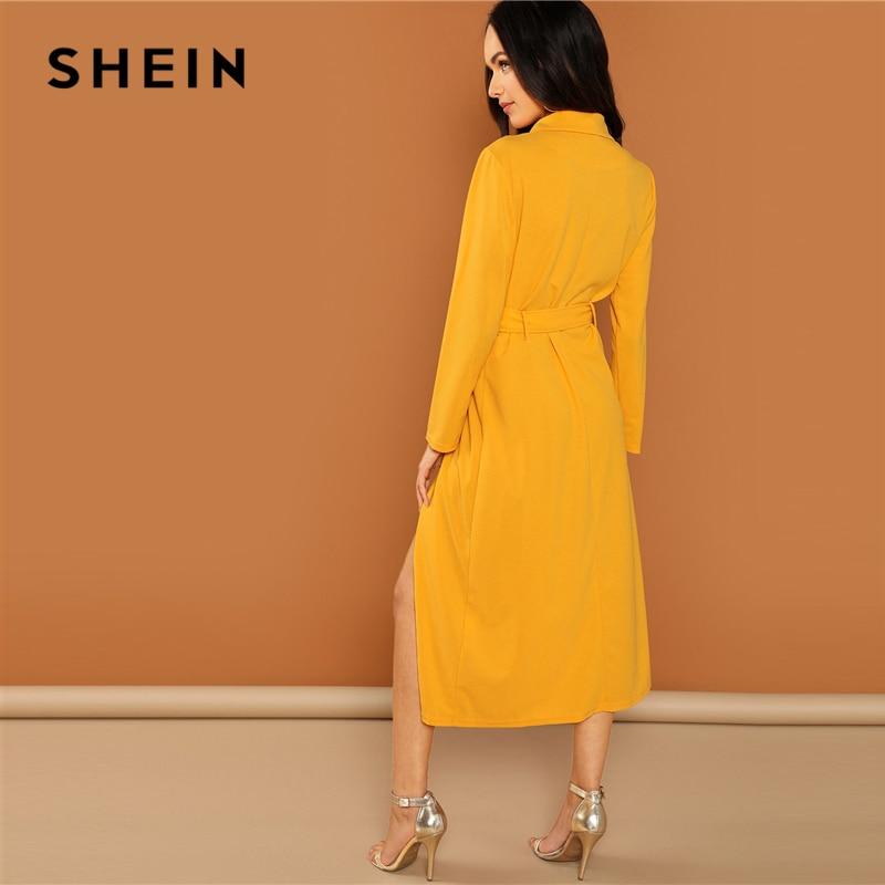 SHEIN Streetwear Weekend Casual Ginger Waist Belted Wrap Notched Neck Asymmetrical Maxi Dress 2018 Autumn Elegant Women Dresses