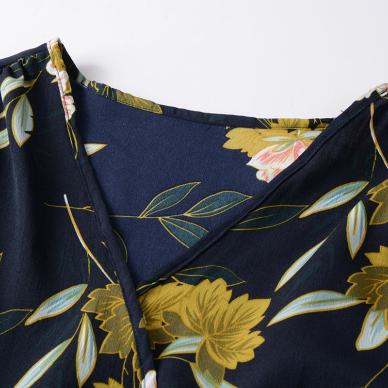 GOPLUS Boho Floral Print Chiffon Dress Women Sexy V Neck Long Sleeve Midi Dress Lady 2019 Spring A-line Elegant Vestidos Female
