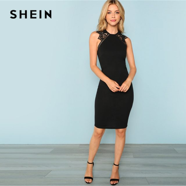 SHEIN Black Party Contrast Lace Insert Armhole Bodycon Sleeveless Natural Waist Solid Dress 2018 Summer Women Sexy Dresses