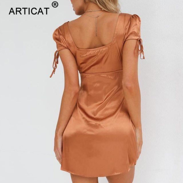 Articat 2018 White Satin Mini Summer Dress Women Square Collar Short Sleeve Short Beach Dress Solid Casual Dress Female Vestidos