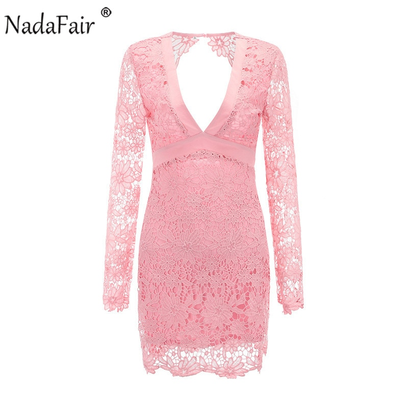 Nadafair Backless Deep V Neck Sexy Lace Dress Women Black Pink Embroidery Hollow Out Long Sleeve Elegant  Party Dresses Summer