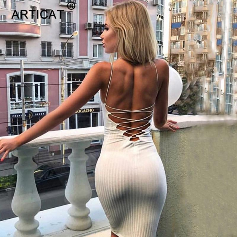 Articat Sexy Backless Bandage Dress Women Halter Sleeveless Slim Pencil Party Dress Autumn Casual Club Bodycon Dress Vestidos