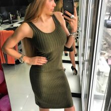 Sexy Sleeveless Knitted Tank Dress Women Knee Length Bodycon Dresses Summer 2019 Slim Scoop Neck Ribbed Robe Femme Sundress C417