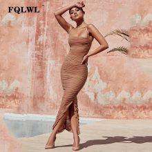 FQLWL Sexy Mesh Women Dress Summer 2018 Strapless Backless Zipper Split Draped Maxi Dress Club Party Wrap Long Dresses Vestiods