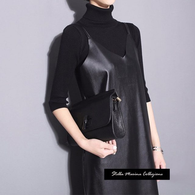 New 2019 Women Long Black Leather Dress Sleeveless Spaghetti Straps V Neck Sides Split Sexy Nigh Party Club PU Dress Style 746