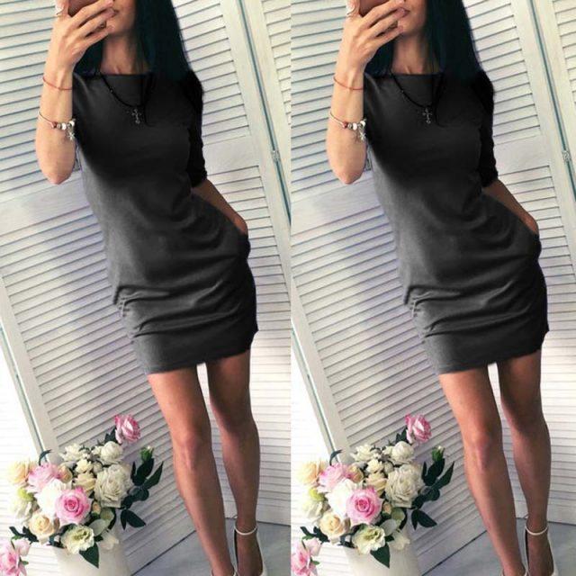 Lossky Half Sleeve Sexy Bodycon Mini Dress Women's Solid O Neck Pocket Slim Autumn Summer Short Dresses Fashion Basic Club Dress