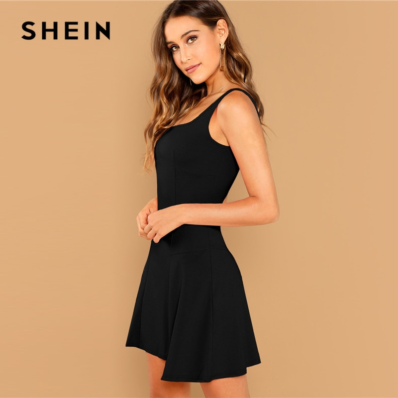 SHEIN Black Fit And Flare Solid Dress Elegant Straps Sleeveless Plain A Line Dresses Women Summer Autumn Zipper Short Dress