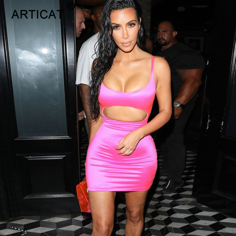 Articat Kardashian Sexy Hollow Out Party Dress Women V Neck Sleeveless Bodycon Bandage Dress Pink Mini Nightclub Dress Vestidos