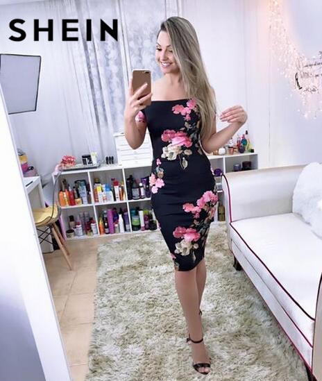 SHEIN Sexy Party Dresses Bodycon Off Shoulder Dress Black Bardot Neckline Floral Bodycon Knee Length Elegant Dress