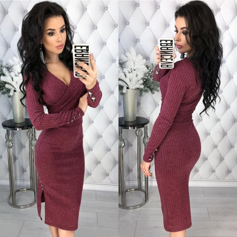 LOSSKY Women Autumn Knitted Bodycon Dress Sexy Deep V-neck Rivet Button Long Sleeve Knitwear Elegant Casual Knee-Length Dresses