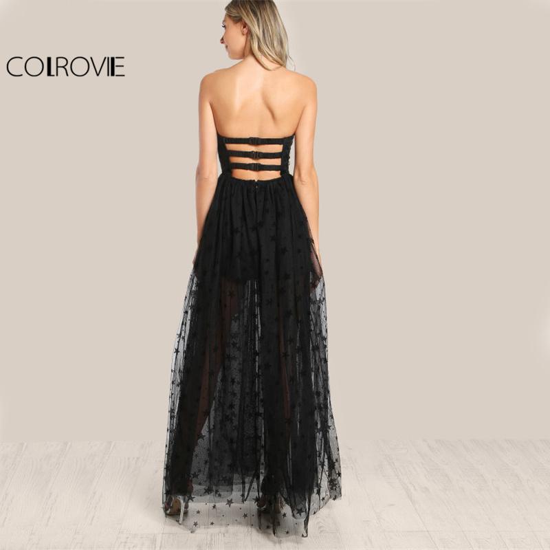 COLROVIE Black Sexy Bustier Party Dress Star Flock Cute Women Mesh Overlay Maxi Summer Dress Strapless Sheer Cut Out Dress