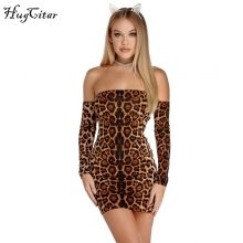 Hugcitar slash neck long sleeve backless bandage leopard print sexy dresses 2018 autumn winter women fashion Christmas dress