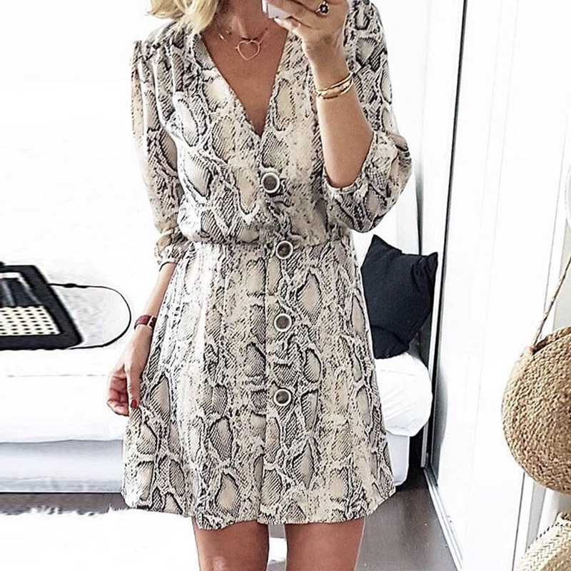 DeRuiLaDy 2018 Women Sexy V Neck Button Long Seleeve Serpentine Print Mini Dress Autumn Winter Casual Streetwear A-line Dresses