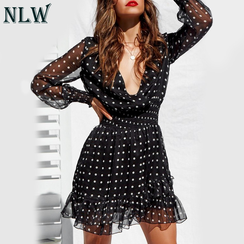 NLW Vintage V-Neck Long Sleeves Dress White Polka Dot Black Dress Women 2019 Summer Casual Lace Mesh Sexy Shirt Dress Vestidos