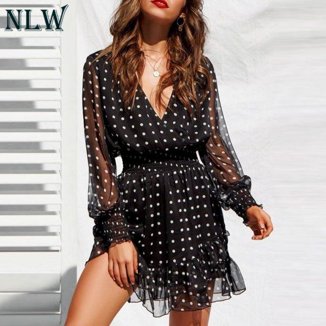 NLW Vintage V-Neck Long Sleeves Dress White Polka Dot Black Dress Women 2019 Summer Casual Lace Mesh Sexy Shirt Dress Vestidos