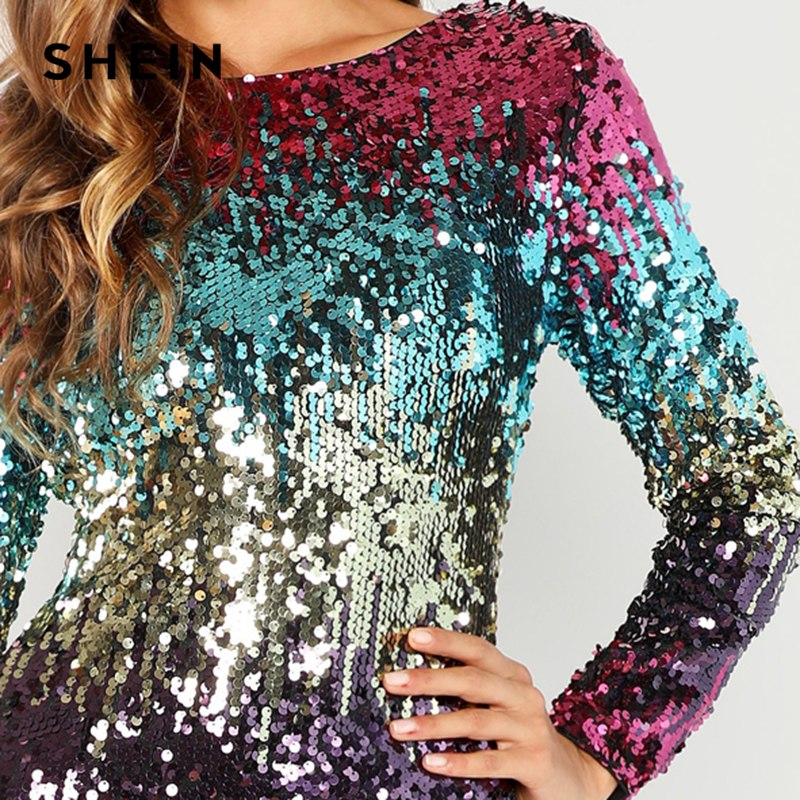 SHEIN Multicolor Party Sequins Iridescent Skinny Round Neck Long Sleeve Dress 2018 Autumn Night Out Women Dresses