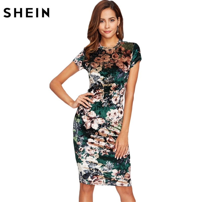SHEIN Form Fitting Floral Velvet Dress Green Sexy Women Autumn Dress Short Sleeve Knee Length Elegant Pencil Dress