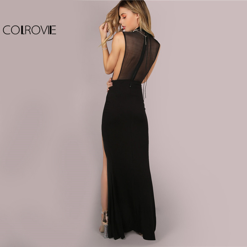 COLROVIE Black Mesh Back Maxi Party Dress Sexy Double Slit Club Women Bodycon Summer Dresses Girl High Neck Slim Long Dress