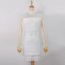 New Vintage hollow out lace dress women Elegant Long sleeve  white dress summer chic party sexy dress vestidos robe