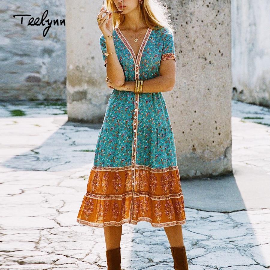 TEELYNN long boho dress 2018 autumn rayon Floral print dresses short sleeve sexy v-neck dress Hippie Bohemia women dress Vestido
