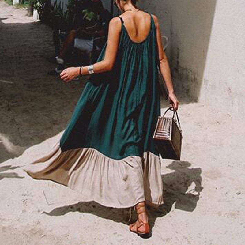 TWOTWINSTYLE Spaghetti Strap Dress Female Backless Patchwork Asymmetrical Long Beach Dresses 2018 Summer Fashion Sexy Clothing