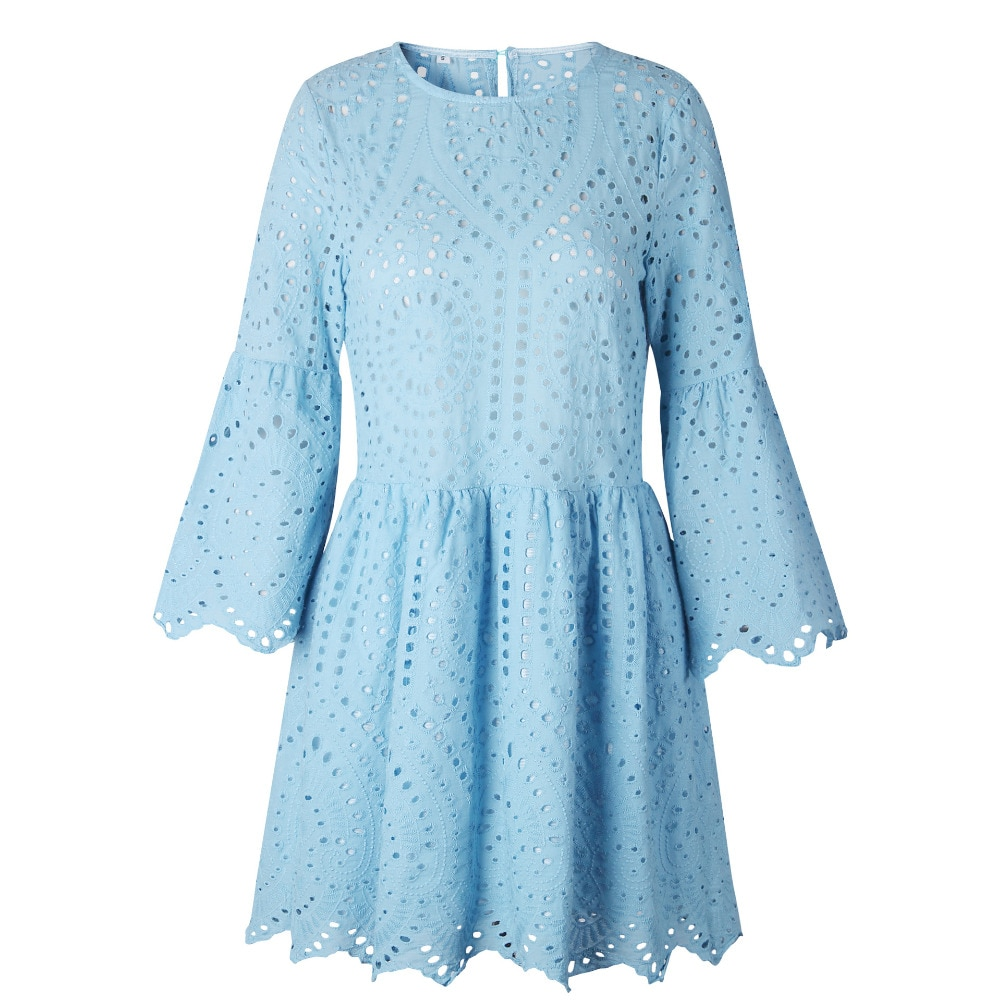 LOSSKY Women Lace Embroidery Sexy Dress Ruffle Sleeve Causal White Cotton Mini Dresses Hollow Out Short Dress Vestidos 2018 New