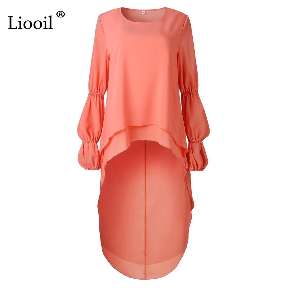 Liooil Black Puff Sleeve Maxi Dress Women Clothes 2019 Spring O Neck Asymmetrical High Low Hem Womens Sexy Long Party Dresses