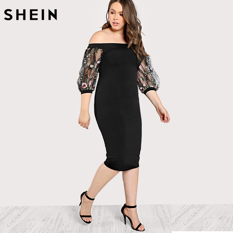 SHEIN Black Plus Size Party Summer Dress Off the Shoulder Bardot Pencil Dress Embroidered Mesh Sleeve Large Sizes Sexy Dress