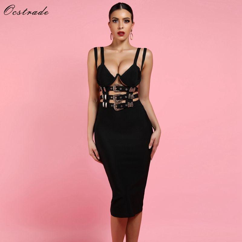 Ocstrade Nightclub Black Bandage Dress New Sexy 2019 Women Fashion V Neck Bandage Bodycon Dress Club Party Vestido Bandage Dress