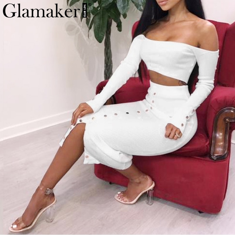 Glamaker Off shoulder split sexy bodycon dress Women two piece black summer beach dress Elegant vintage long party dress casual