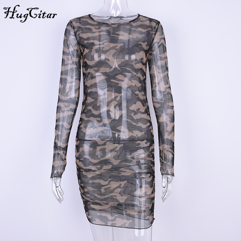 Hugcitar Camouflage Mesh bodycon dress Women 2017 Summer Casual Sexy See Through dress Girl Long Sleeve party mini dresses
