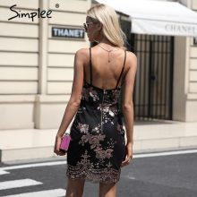 Simplee Sexy club backless formal dress women V neck sequin party dresses vestidos Christmas bodycon short autumn winter dress