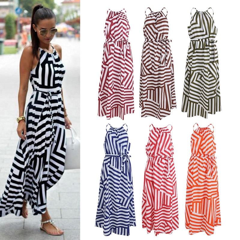 7 Colors Women Sexy Summer Dress Boho Maxi Long Evening Party Dress Beach Dress Sundress New