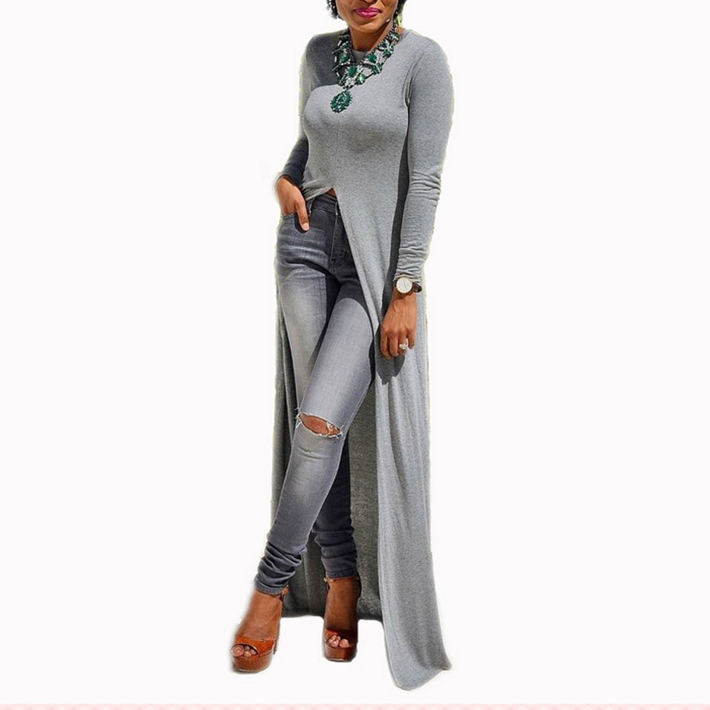 2018 Women Casual Crew Neck Long Sleeve Sexy Split Knitted Spring Maxi Long Dress
