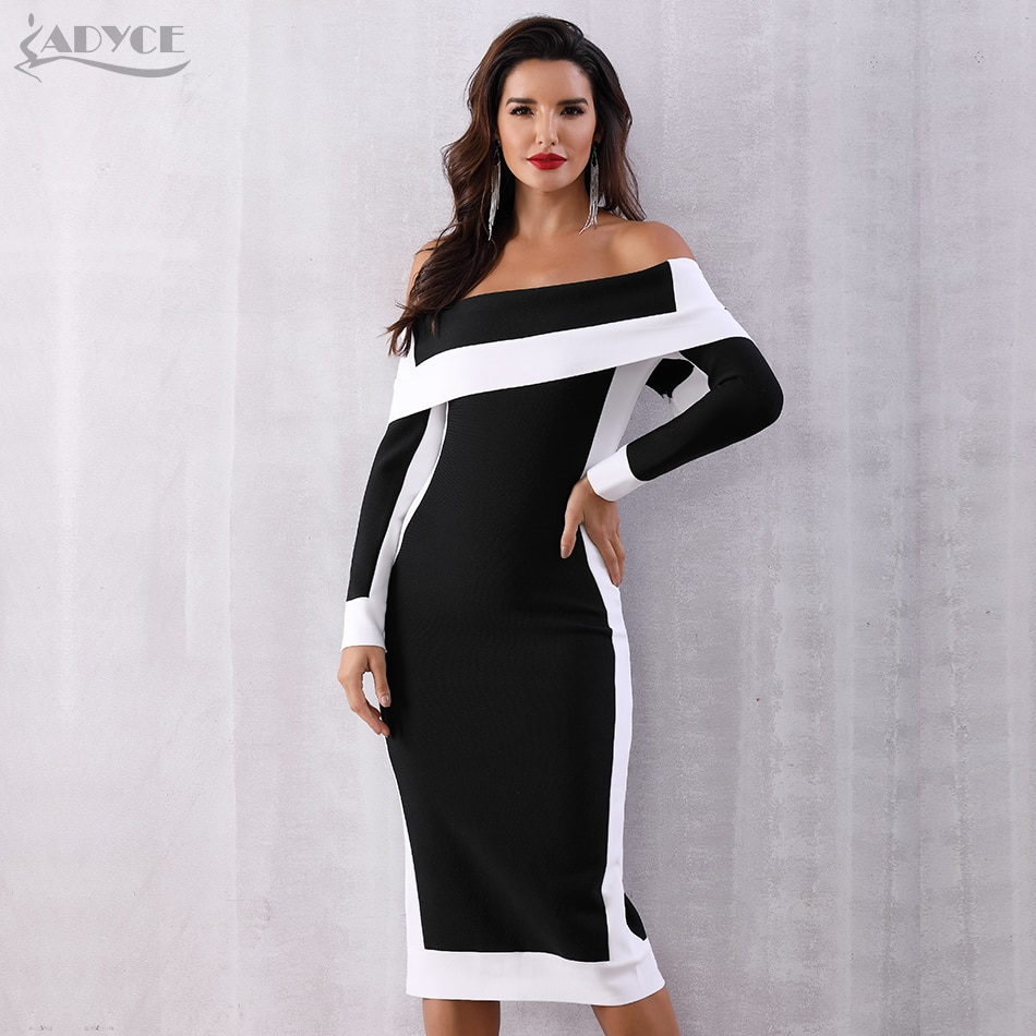 Adyce Sexy Summer Bodycon Bandage Dress Women Vestidos Verano 2019 New Long Sleeve Off Shoulder Club Dress Celebrity Party Dress