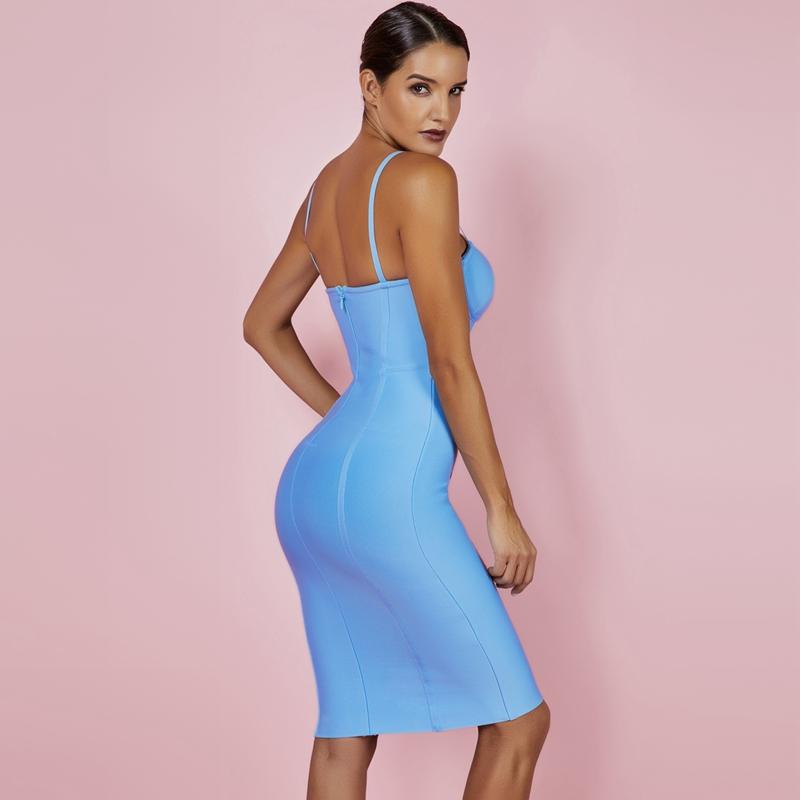 Ocstrade Women Dress Bandage 2019 New Arrivals Summer Sexy Light Blue Spaghetti Strap Rayon Bandage Dress Bodycon Party Dress