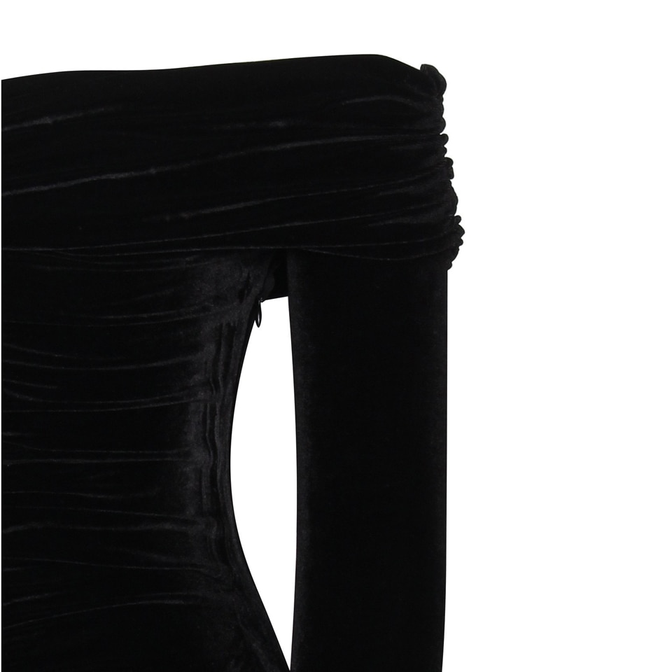 Karlofea New Spring Midi Dress Solid Black Elegant Casual Off Shoulder Velvet Dress Sexy Club Long Sleeve Bodycon Party Dress