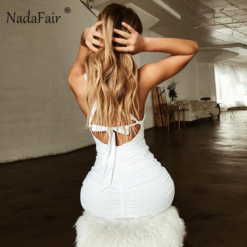 Nadafair Summer Sexy Bandage Dress Women Backless Lace Up Bodycon Party Club Dress Vestidos Draped Mini Wrap Dress Robe Femme
