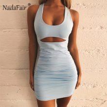 Nadafair Summer Sexy Bandage Dress Women Backless Lace Up Bodycon Party Club Dress Vestidos Draped Mini Wrap Dress Robe Femme