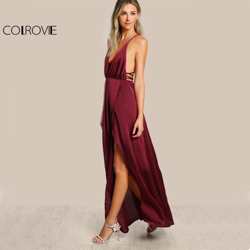 COLROVIE High Slit Wrap Satin Maxi Dress Plunge Neck Cross Back Women Sexy Draped Long Dresses Sleeveless A Line Slip Dress