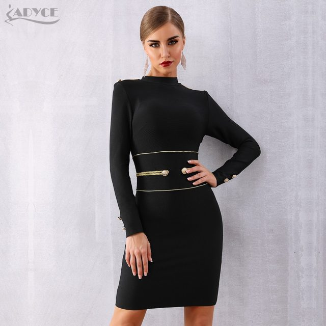 Adyce 2019 New Spring Women Bandage Dress Sexy Long Sleeve Black Mini Club Dress Vestidos Elegant Celebrity Evening Party Dress