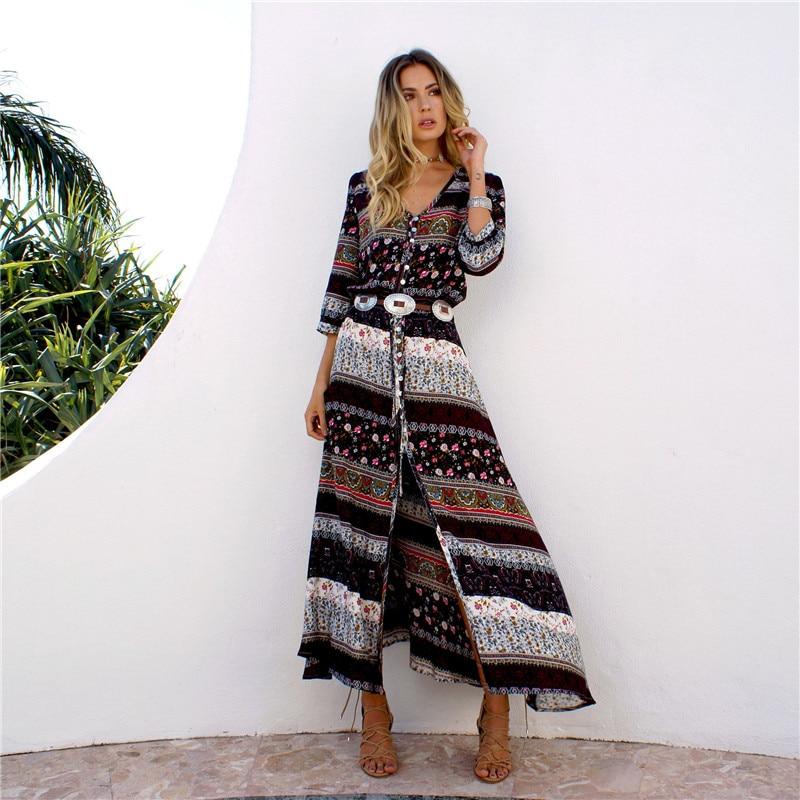 JTCY 8 Colors Split Print Chiffon Bohemian Sexy Beach Dress 2019 Fashion Women Summer Sundress V-Neck Plus Size Party Dresses
