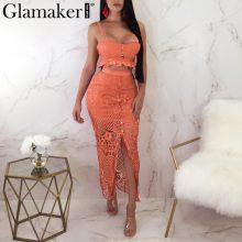 Glamaker Split hollow out sexy maxi dress Women ruffle floral lace blue dress Elegant summer beach bodycon long party club dress
