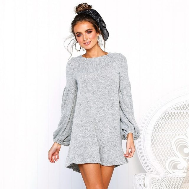 DeRuiLaDy Women Sexy O Neck Lantern Sleeve Knitted Sweater Mini Dress 2018 Antumn Winter Long Sleeve Casual Dresses Vestidos