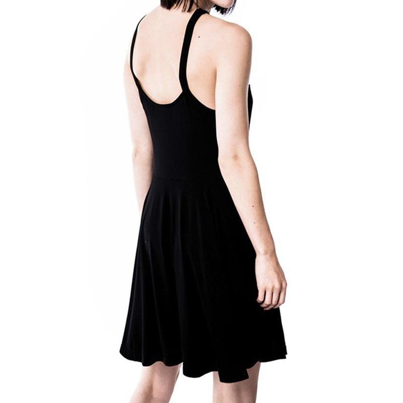 2018 Sexy Summer Women Slim Mini Dress Black Pentagram Women Goth Dress Sexy Fashion Dress