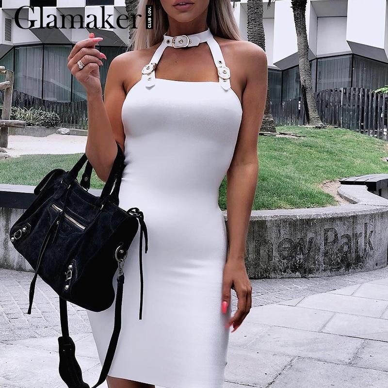 Glamaker Halter belt hollow out summer dress Women black backless club party dress Female fitness red bodycon dress vestidos