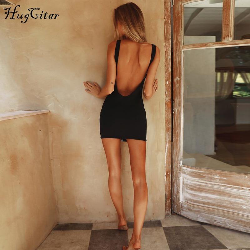 Hugcitar sleeveless V-neck zipper backless sexy bodycon dresses 2018 summer women fashion black solid party dress