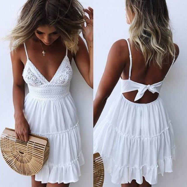JAPPKBH Sexy Mini Summer Dress Women New Casual Vintage White Lace Beach Dress Elegant Bandage Party Dresses Vestidos Robe Femme