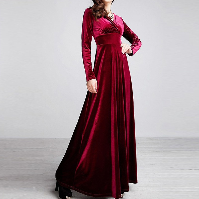 JAPPKBH Autumn Winter Dress Women 2018 Casual Vintage Velvet Dress Long Sleeve Plus Size Elegant Sexy Long Party Dress ukraine