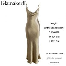 Glamaker Strap satin red sexy bodycon long dress Women backless summer lace up white party dress Elegant gold maxi beach dress